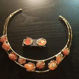 Crystal Gem Art deco collar statement necklace
